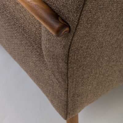 brown fabric with wooden legs 130cm sofa by Pr Home
