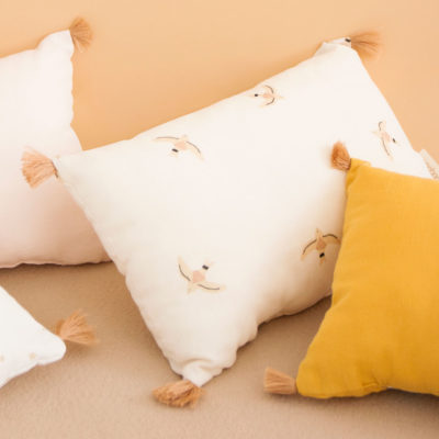 nude cushion with birds in organic cotton by Nobodinoz