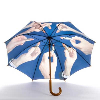 blue umbrella with lipsticks by Seletti