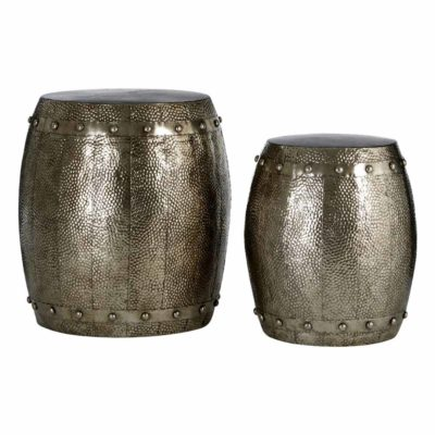 silver hammered drum stools, Cuatia by Latzio