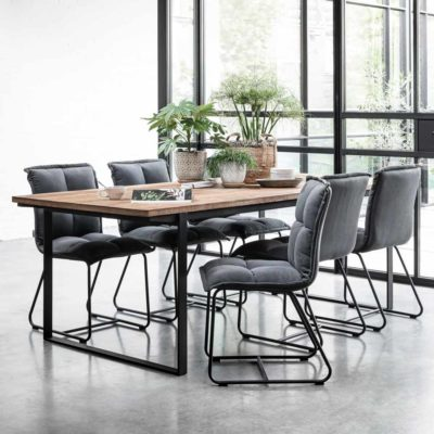 wooden dining table with metal legs, Odeon 225cm by DTP Home