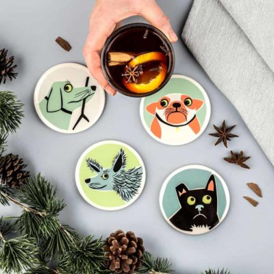 ceramic Dog Coasters by Hannah Turner