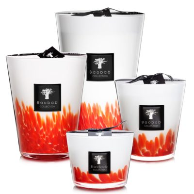 red feathers Maasai candle by baobab