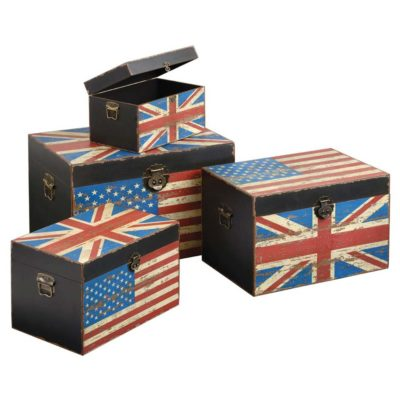 set 4 trunks union jack and american flag by Latzio
