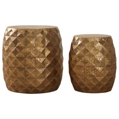 gold drum stools, Lucia by Latzio