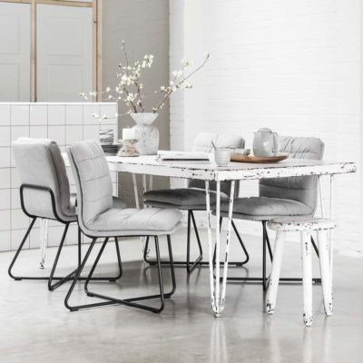 white wooden and metal dining table, snow white by MUST Living