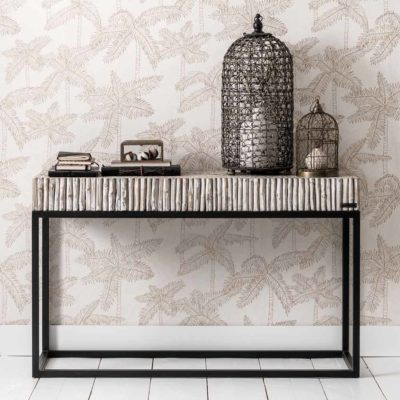 grey wooden and metal console table stick by MUST Living