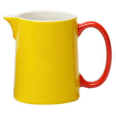 milk jug yellow with handle red, Jansen + Co by Serax