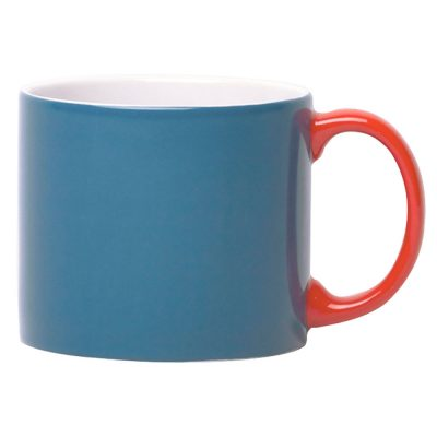 mug XL blue with handle red, Jansen + Co by Latzio