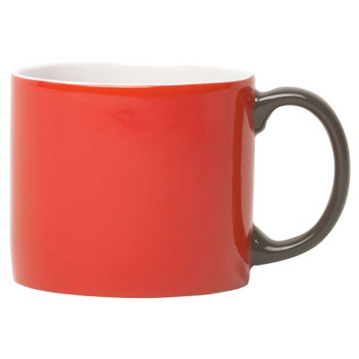 mug XL red with handle grey, Jansen + Co by Latzio