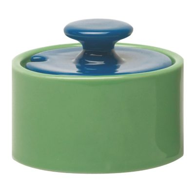 sugar bowl green with lid blue, Jansen + co by Serax
