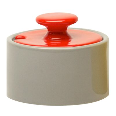sugar bowl grey with lid red, Jansen + co by Serax