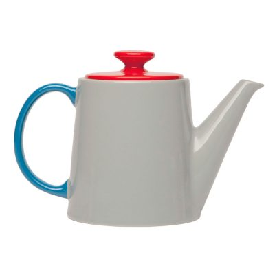 tea pot grey with top red and handle blue, Jansen + co by Serax