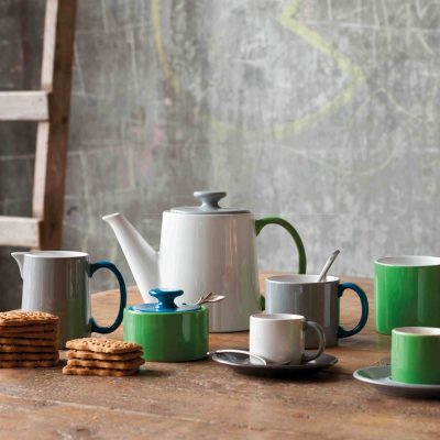 tea pot white with top grey and handle green, Jansen + co by Serax