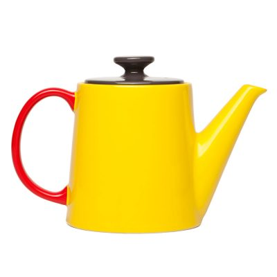tea pot yellow with top anthracite and handle red, Jansen + co by Serax