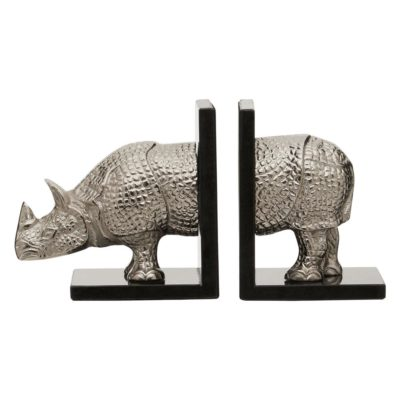Silver rhino bookends by Latzio