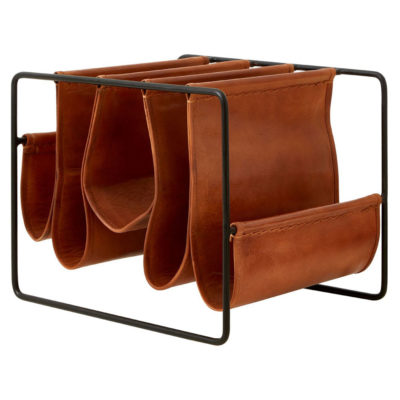 antique leather magazine holder, Sali by Latzio