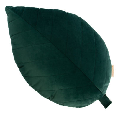 organic green palma leaf velvet cushion by Nobodinoz