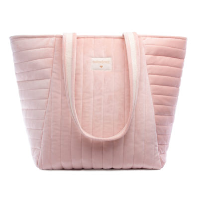 pink Savanna velvet maternity bag by Nobodinoz
