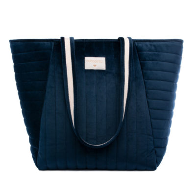 Blue velvet maternity bag by Nobodinoz