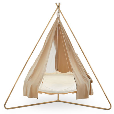 White hanging Deluxe Poolside Medium TiiPii Bed & stand & poncho