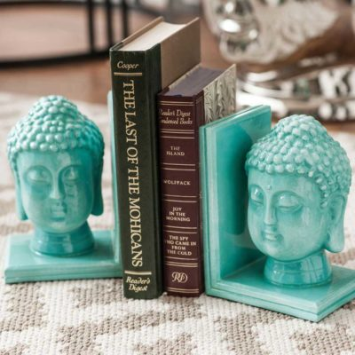blue buddha head bookends by Latzio