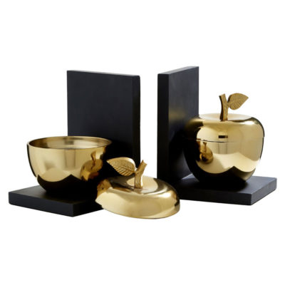 gold apple bookends by Latzio
