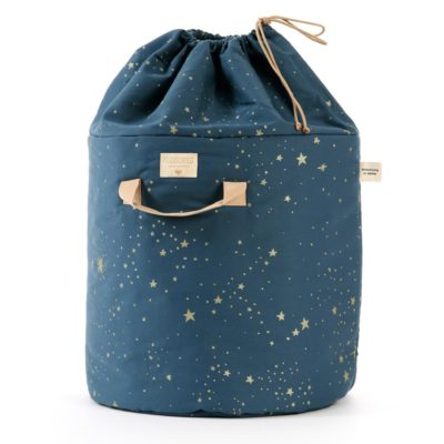 night blue large toy bag with gold by Nobodinoz