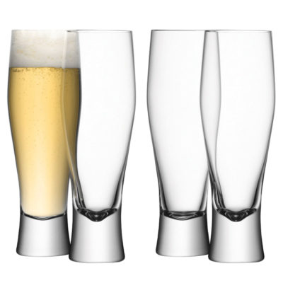 handmade bar lager glass x4 by LSA International