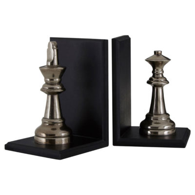 silver chess bookends by Latzio
