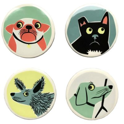 dog coasters by hannah turner