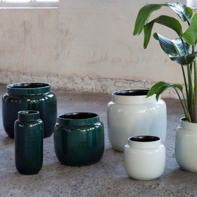 flower pot dark green serax