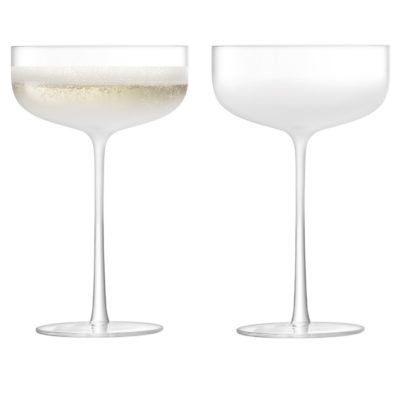 handmade champagne cocktail saucer, mist by LSA International