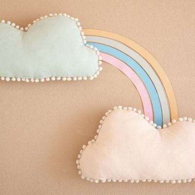 marshmallow cloud cushion aqua and dream pink by Nobodinoz