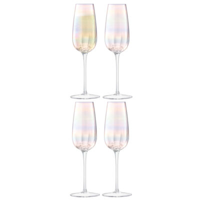 handmade holographic champagne flute, pearl by LSA International