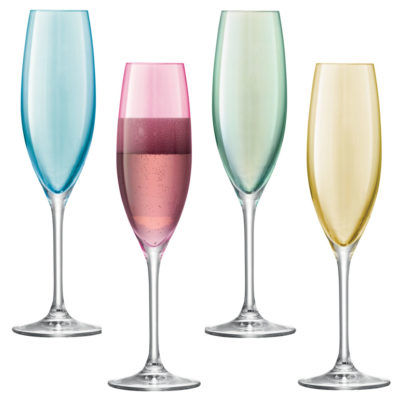 champagne flute blue, pink, green and yellow by LSA International