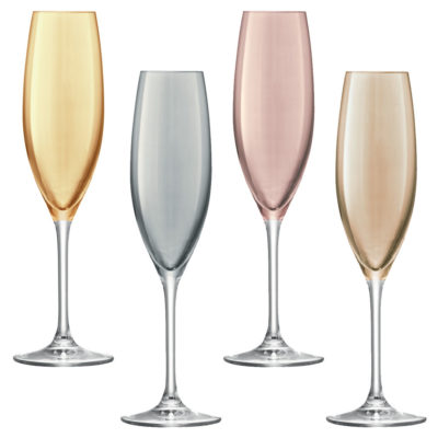 champagne flute gold, zinc, bronze and copper, Polka by LSA International