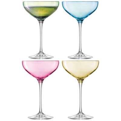 champagne saucer blue, green, yellow and pink LSA International