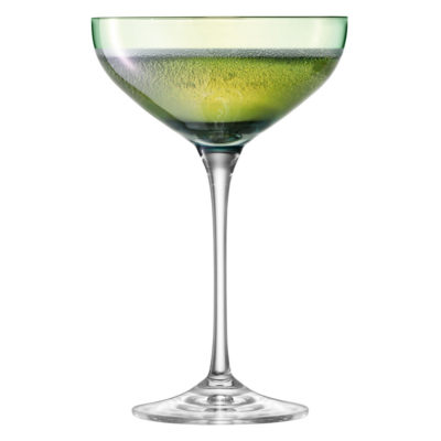 green hand painted champagne saucer by LSA International