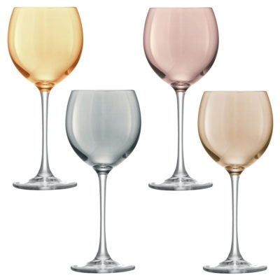 wine glasses gold, copper, bronze and zinc by LSA international