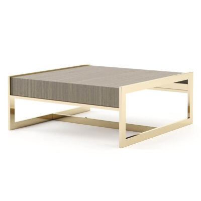 wooden coffee table with metal frame by laskasas