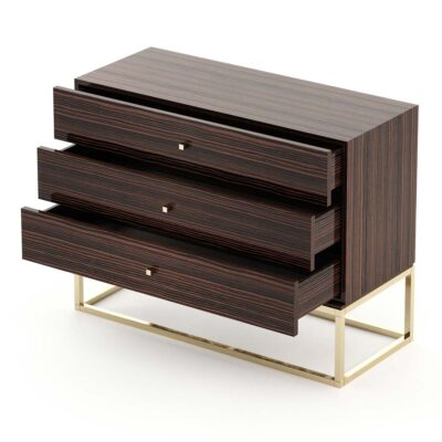 wooden chest of 3 drawers with gold legs by Laskasas