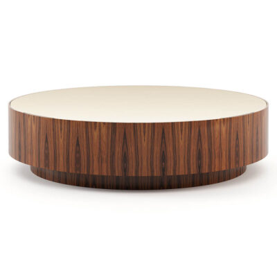 round coffee table with a wooden base and smoked mirror top by Laskasas