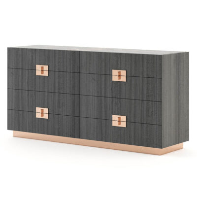 8-drawer wooden chest of drawers with metal handles and base by Laskasas