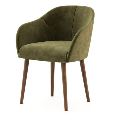 green chair in velvet fabric and wood structure by laskasas