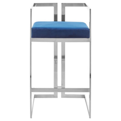 blue and silver finish bar stool by Latzio