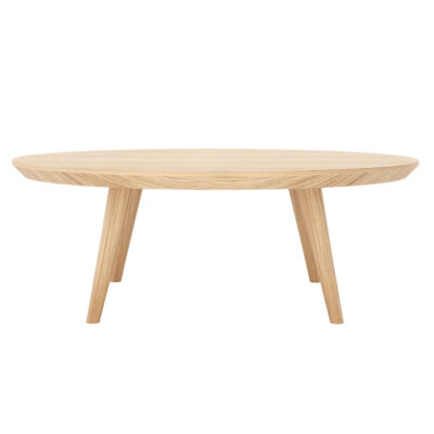scandinavian round wooden coffee table by Laskasas