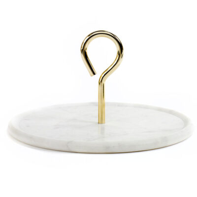 Platter white marble handle gold, Jansen+co by Serax