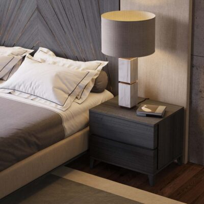 grey wood bedside table by Laskasas