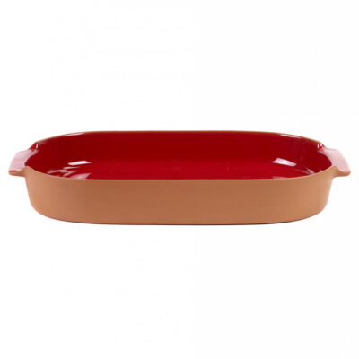 red oval bakeware made of terracotta, jansen+co by serax